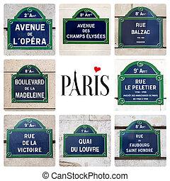 Paris street sign collage - Love Paris concept. A collage of...