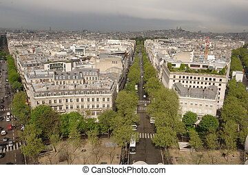 Paris streets Grand Arch view
