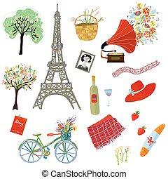 Paris summer picnic set of design elements