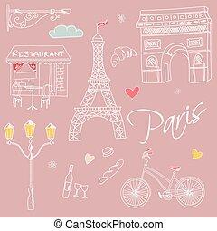 Paris symbols, postcard, hand drawn