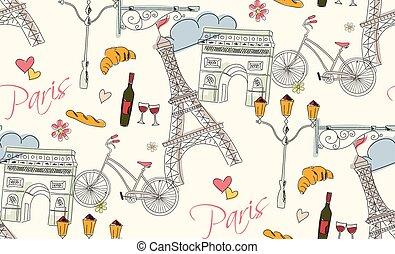 Paris symbols, postcard, seamless pattern, hand drawn