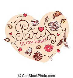 Paris symbols. Vector illustration.