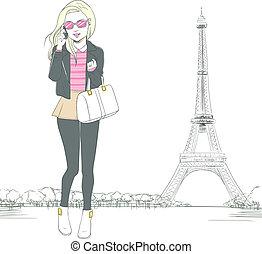 paris, talande, kvinna, smartphone