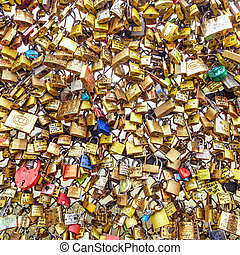 Paris, texture or background of love padlocks on Pont des Arts bridge,  France.