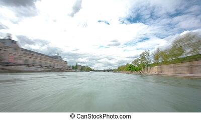 Paris. The excursion motor ship floats down the river Seine...