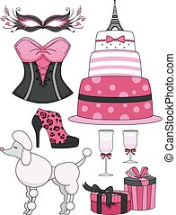 Paris Theme Pink Black Elements