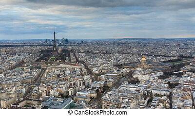 paris, timelapse, coucher soleil