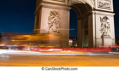 paris, timelapse, night., de, arc, triomph
