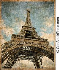 paris, torn, toned, eiffel, årgång, vykort