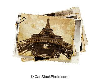 paris, torn, toned, sepia, eiffel, årgång, vykort