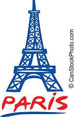 paris, torre, eiffel, desenho