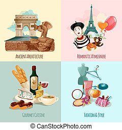 Paris Touristic Set - Paris design concept set with...