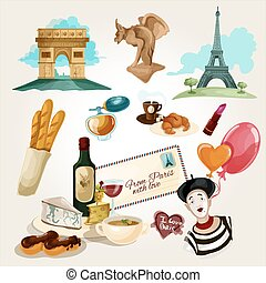 Paris Touristic Set - Paris touristic set with cartoon...
