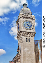 Paris. Tower of Station Gare de Lyon- is one of the oldest...
