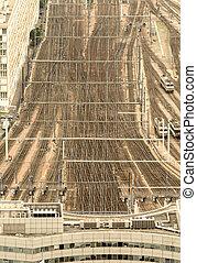 Paris train station, France. Aerial view