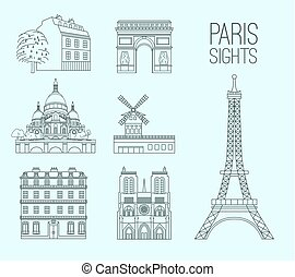 Paris landmarks collection. Beautiful vector illustrations in modern style isolated on a light blue background. Paris main sights miniatures.