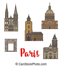 Paris travel landmark icon of French architecture