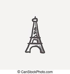 paris, turm, skizze, ikone