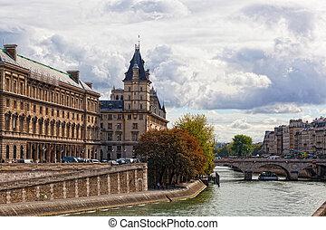 paris:, um, vista, de, um, palácio, ligado, sena, dique