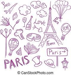 Paris Vector Sketch Symbols Set