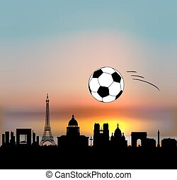 Paris vector skyline with fottball/soccer ball