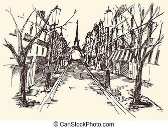 paris, vendange, rues, france, dessiné, main, gravé