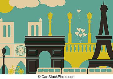 Paris View - Illustration of Paris symbols and landmarks.