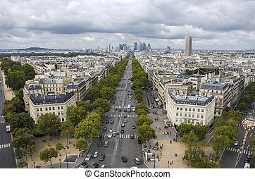 Paris view from Arc de Triumph. France.