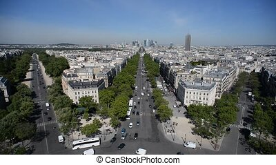 Paris. View from Arch of Triumph. Panorama from Place...