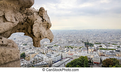Paris View from Sacre Coeur Basilica in France
