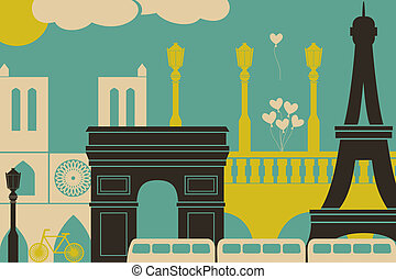 Paris View - Illustration of Paris symbols and landmarks.