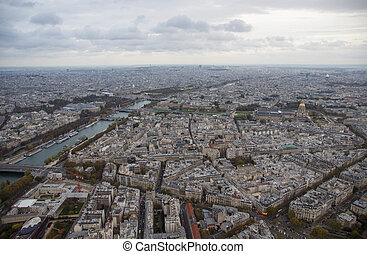 Paris, view of the city in the cloudy autumn evening