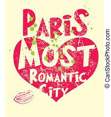paris, ville, vecteur, art, slogan