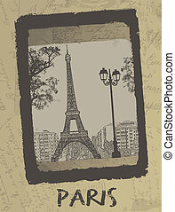 Paris - Vintage postcard design with Eiffel Tower on antique...
