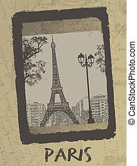 Paris - Vintage postcard design with Eiffel Tower on antique...