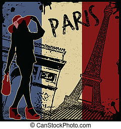 Paris vintage poster - Paris vintage grunge poster, vector...