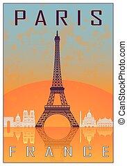 Paris vintage poster in orange and blue textured background...