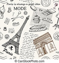 Paris. Vintage seamless pattern with Eiffel Tower, Triumphal Arch