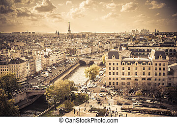 Paris Vintage - Vintage style image of Paris France from ...