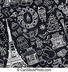 Paris winter,Doodle christmas seamless pattern