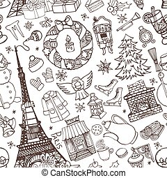 Paris winter,Doodle christmas seamless pattern.Chalk