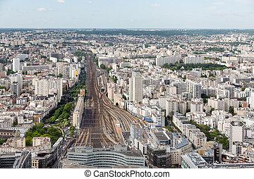 Paris with aerial view at Gare Montparnasse - Panorama of...