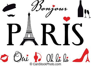 Paris with Eiffel tower, vector set - Paris with Eiffel...