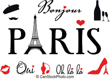 Paris with Eiffel tower, vector set - Paris with Eiffel...