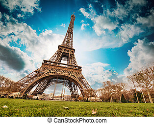 Paris. Wonderful wide angle view of Eiffel Tower from street level in December.