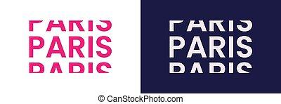 Paris word text in modern minimal style.