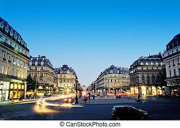 paris, zentrieren, nacht
