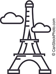 paris,eiffel tower vector line icon, sign, illustration on...