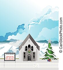 Christian parish church with Jesus is for life not just for Christmas message on notice board set against a blue cloudy sky