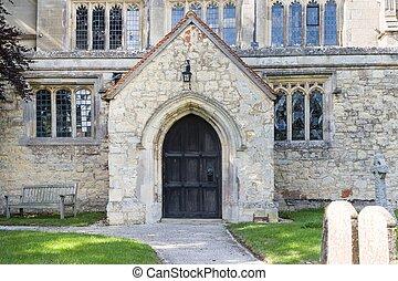 Parish church door in Buckinghamshire, UK